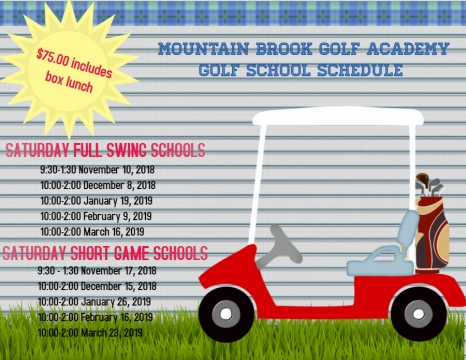 FALL 2018 AND WINTER 2019 GOLF SCHOOL SCHEDULE